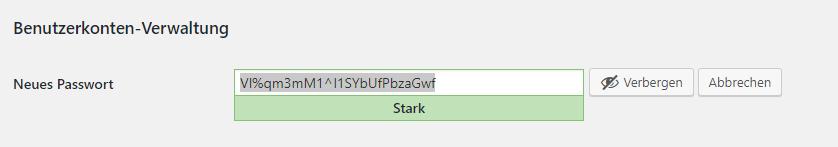Wordpress - sicheres Passwort erzeugen